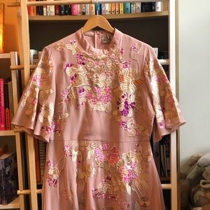 Exquisite pink mock neck embroidered ASOS dress